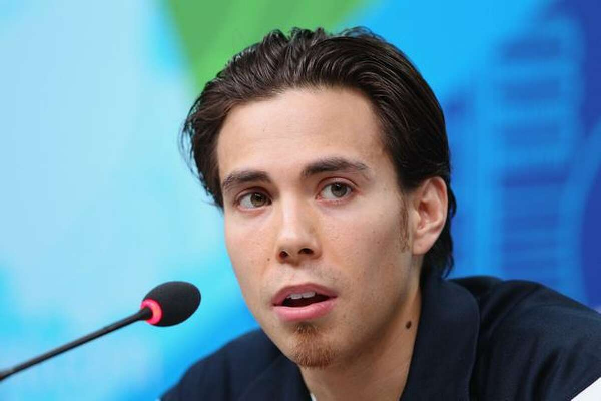 Apolo Anton Ohno of the United States attends the USOC short-track speed skating press conference at the Main Press Centre ahead of the Vancouver 2010 Winter Olympics on Feb. 9, 2010 in Vancouver, B.C.