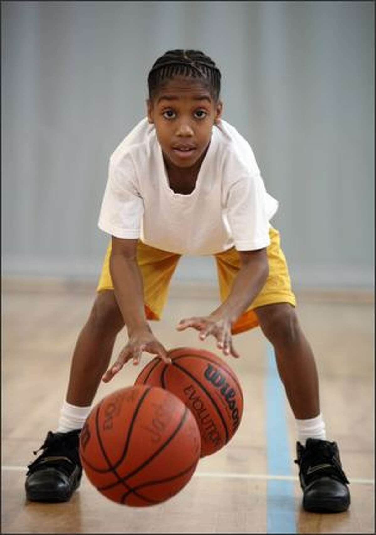 Jashuan Agosto, 11, practices his skills at the Federal Way Community Center.