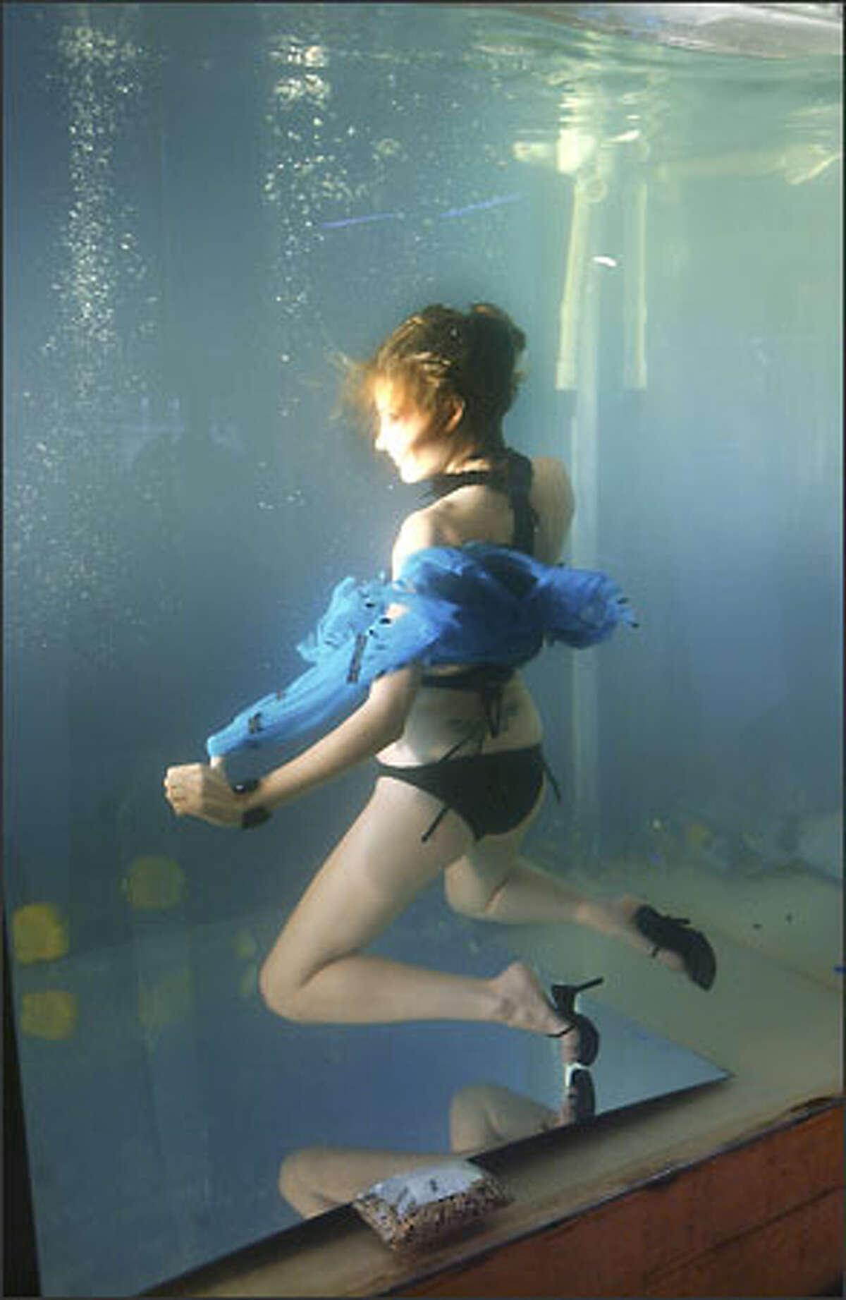 Local gal Sara Racey-Tabrizi poses while submerged in a tank of tropical fish during a photo shoot on