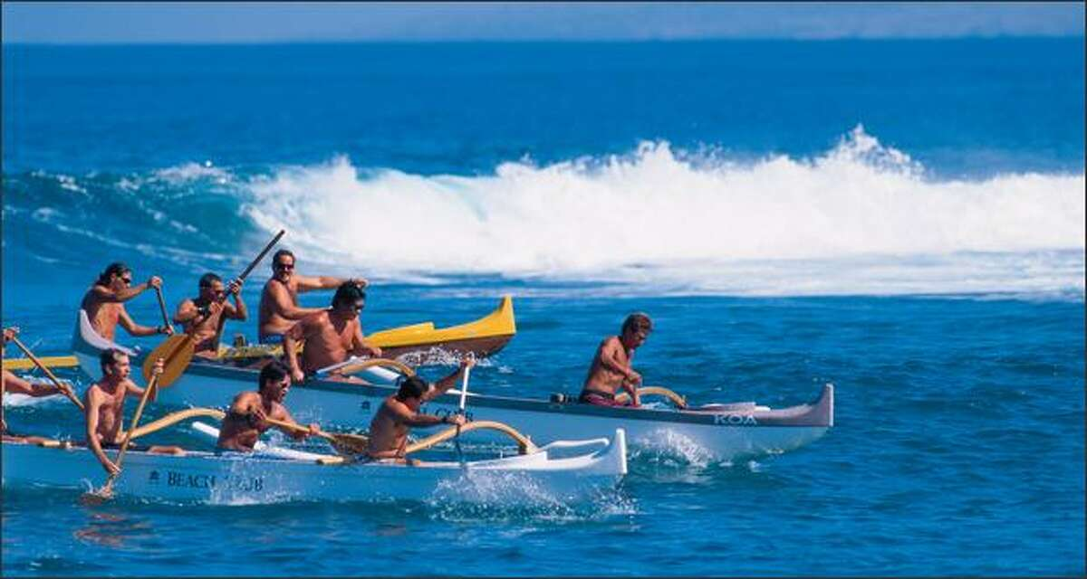 Each person in an outrigger canoe is responsible for one paddle and sculls on both sides of the boat, switching when needed. The vessel's name comes from the floats that extend from the left side of the canoe and help keep it from tipping over. Fairmont Orchid