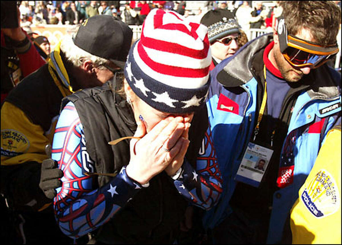 U.S. downhill skier Picabo Street sheds some tears after finishing in 16th place yesterday at the Olympic women's downhill event at Snowbasin in Huntsville, Utah. Street plans to retire from international competition following the Games.