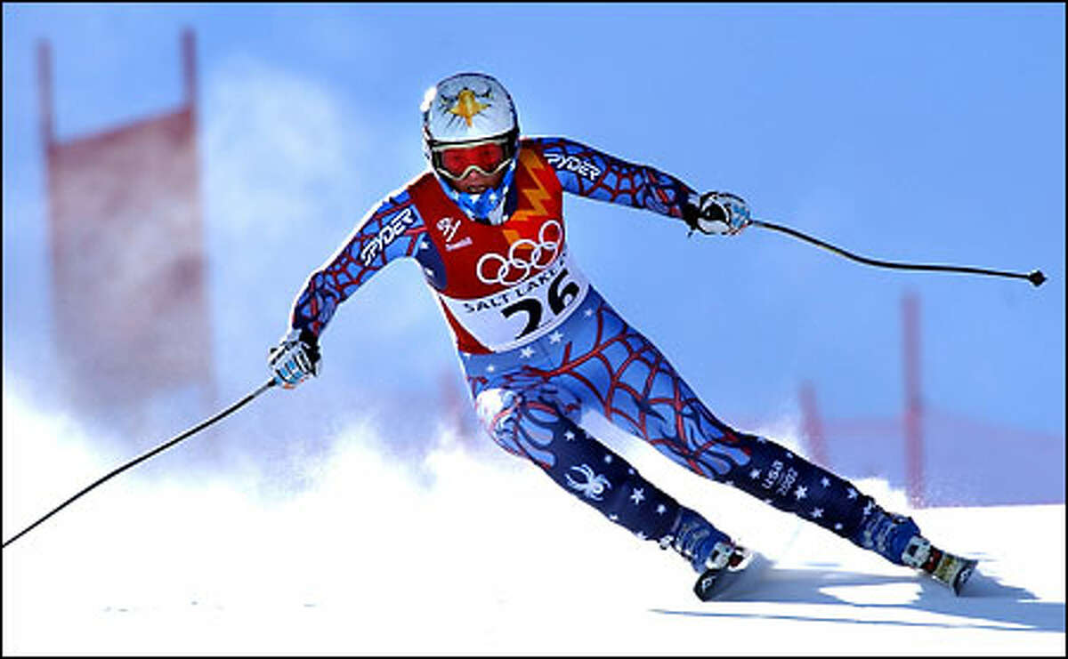 Picabo Street makes a turn during the women's downhill event. The race was her only one of these Olympics.