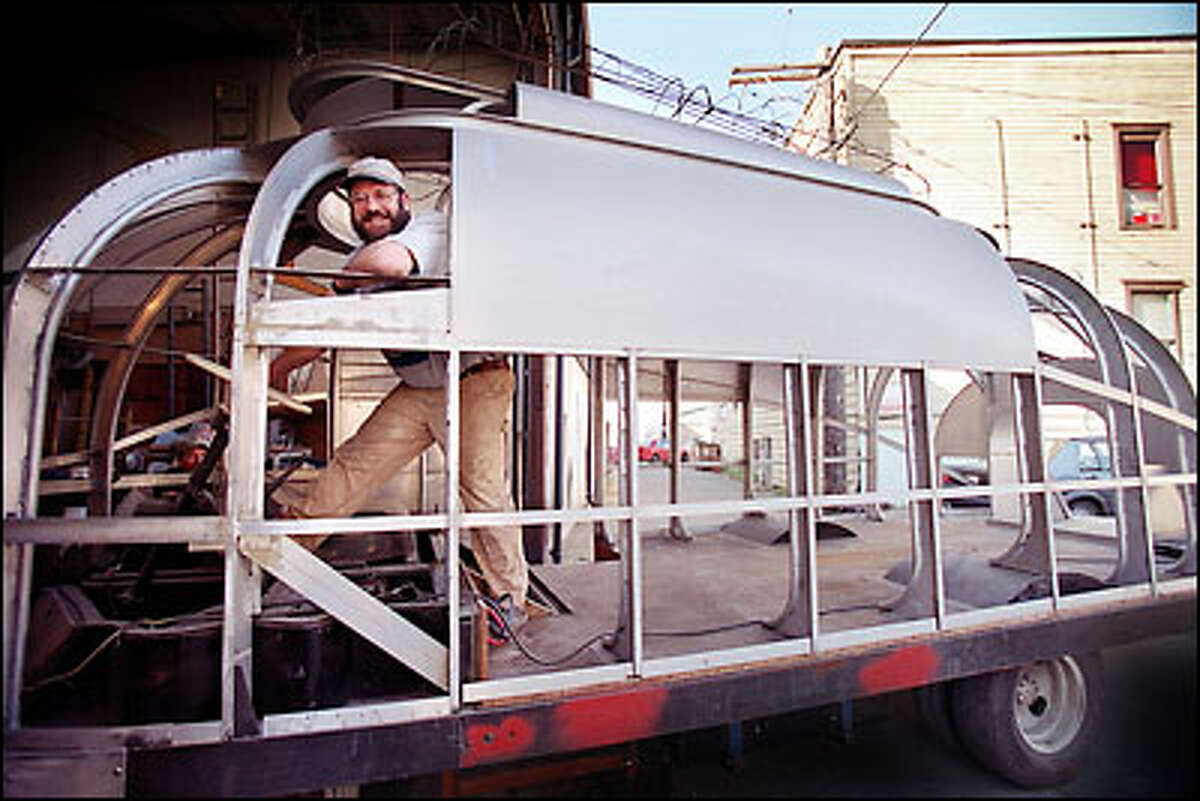 At his foundry in Fremont, Peter Bevis imagines the possibilities regarding his Baby Kalakala, which is mounted on a Winnebago chassis.
