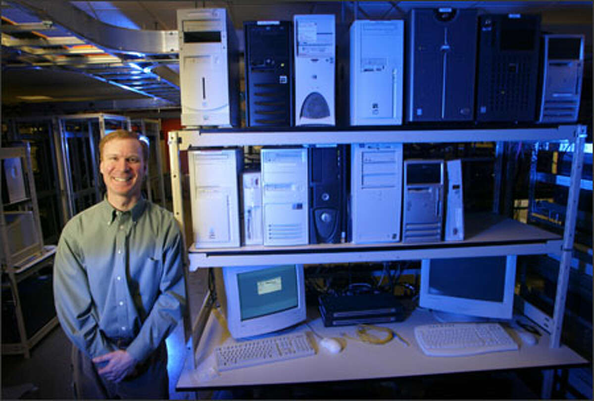 Mark Estberg, seen in one of the server rooms at Microsoft's headquarters, is director of the Microsoft Security Center of Excellence. The company established the group to show big-business customers how to keep their networks secure. The 29-member team makes use of security knowledge Microsoft learned the hard way.
