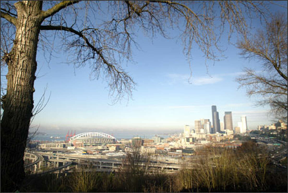 The edge of Dr. Jose Rizal Park offers a dramatic view of downtown Seattle.