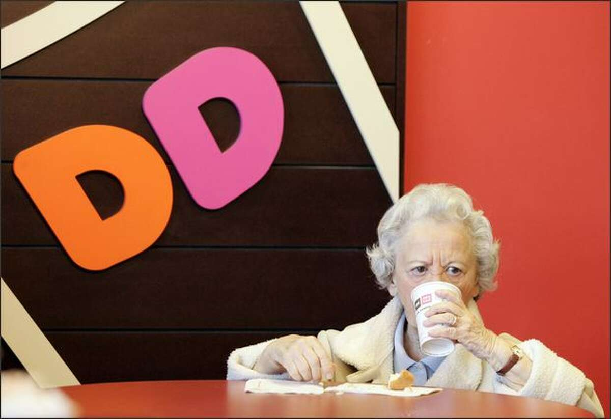 Betty Reidy, 82, enjoys a coffee at one of the new Dunkin' Donuts locations in Las Vegas.