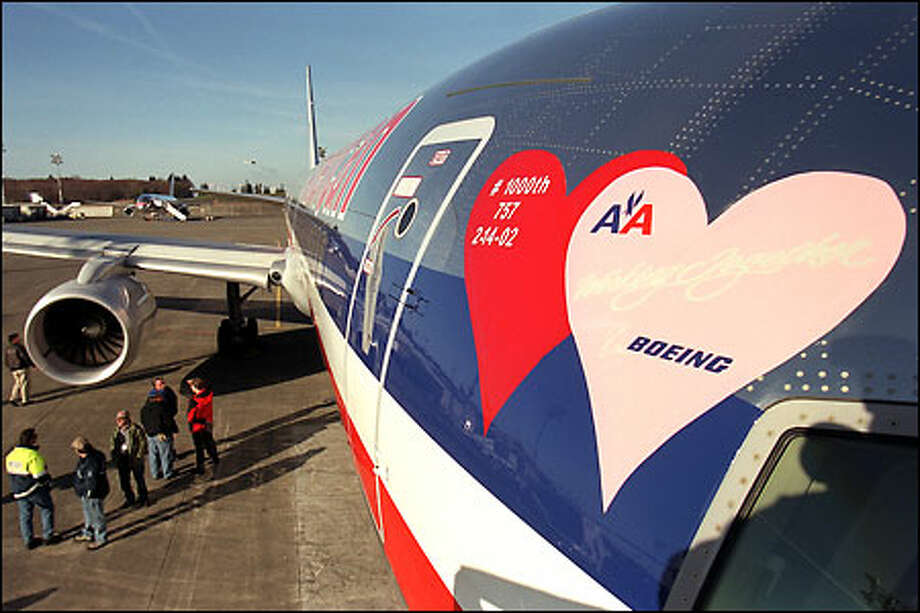 Boeing celebrates the 1,000th delivery of a 757 on Valentine's Day yesterday in Everett, a big milestone for the plane maker and American Airlines. Photo: Phil H. Webber, Seattle Post-Intelligencer / Seattle Post-Intelligencer