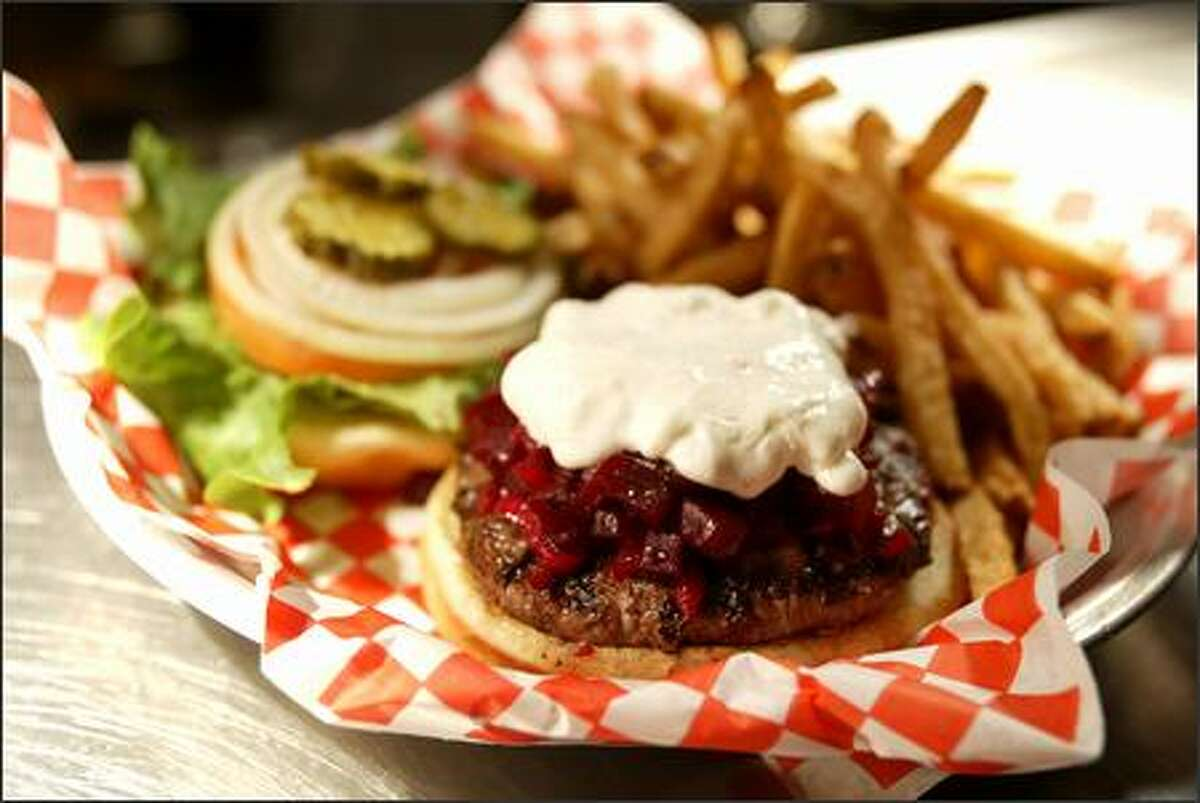 The Red Star burger ($8.95), topped with red beet relish and goat cheese, was our critic's choice. It is made from Misty Isle Farms beef.