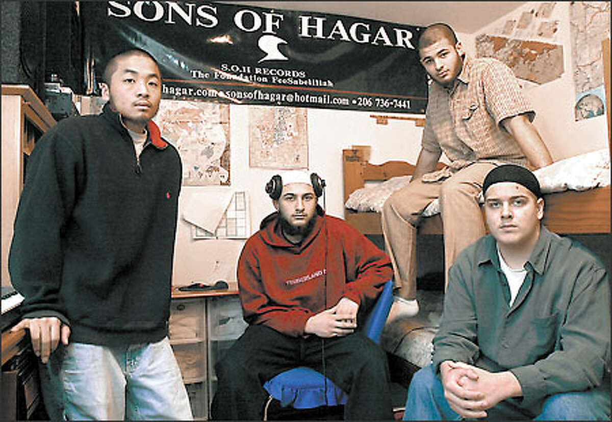 From left, Musa, Ahmad, Abdul and Kareem are the Sons of Hagar, a rap group from South King County.