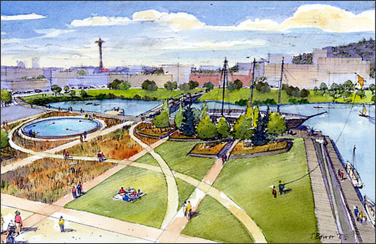 A historic ship wharf and a model boat pond have been incorporated into the park project, which is targeted for completion by the end of 2006.
