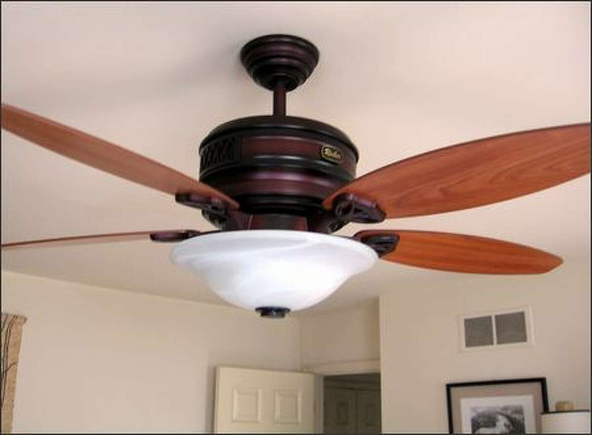 This Reiker ceiling fan has a built-in heater. (JAMES DULLEY)