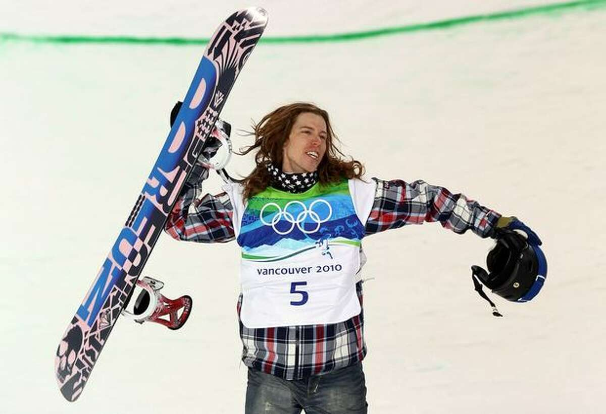 Shaun White of the United States reacts Wednesday after he competes in the Snowboard Men's Halfpipe final on day six of the Vancouver 2010 Winter Olympics at Cypress Snowboard & Ski-Cross Stadium in Vancouver, B.C.
