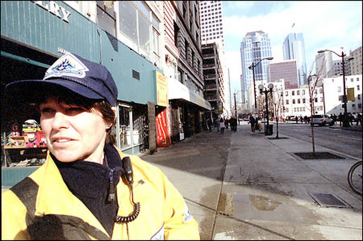 Gretchen Small is one of more than 30 downtown safety ambassadors who act as eyes and ears for the Seattle police as well as the community.