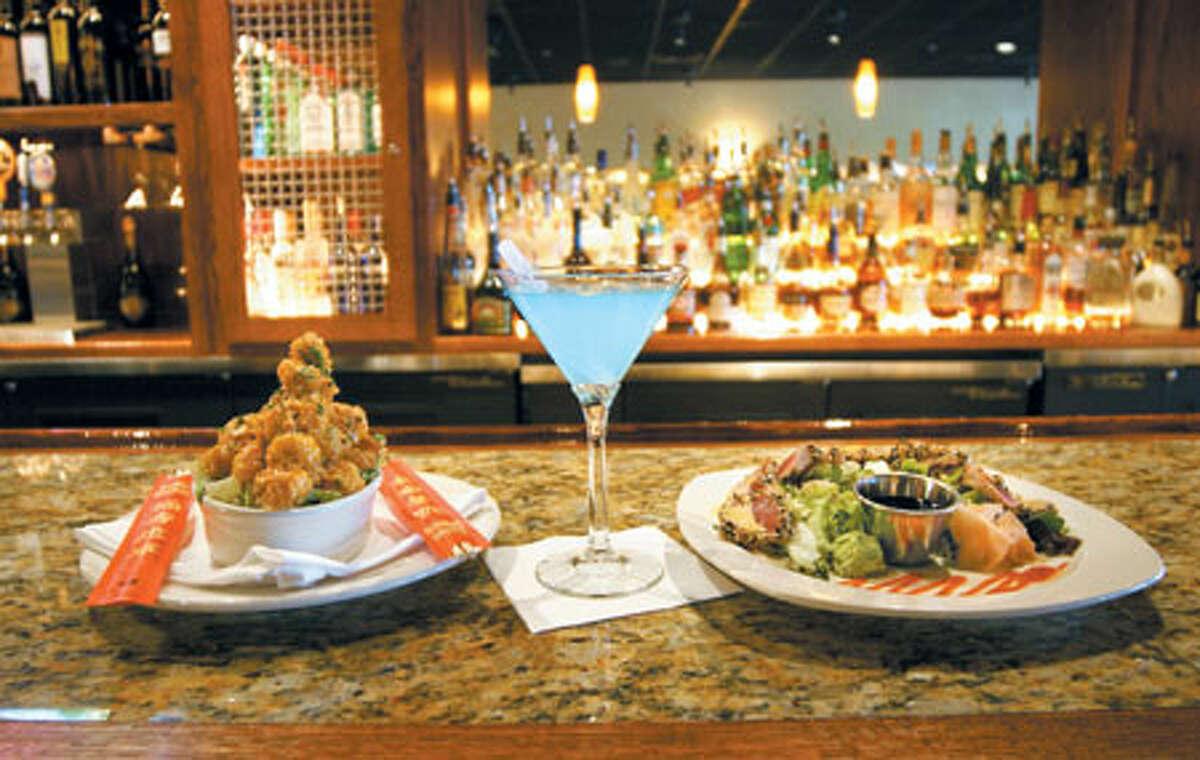 Bang Bang Shrimp and Ahi Sashimi (with a tarted-up Hypnotiq Martini) satisfy at Bonefish Grill.