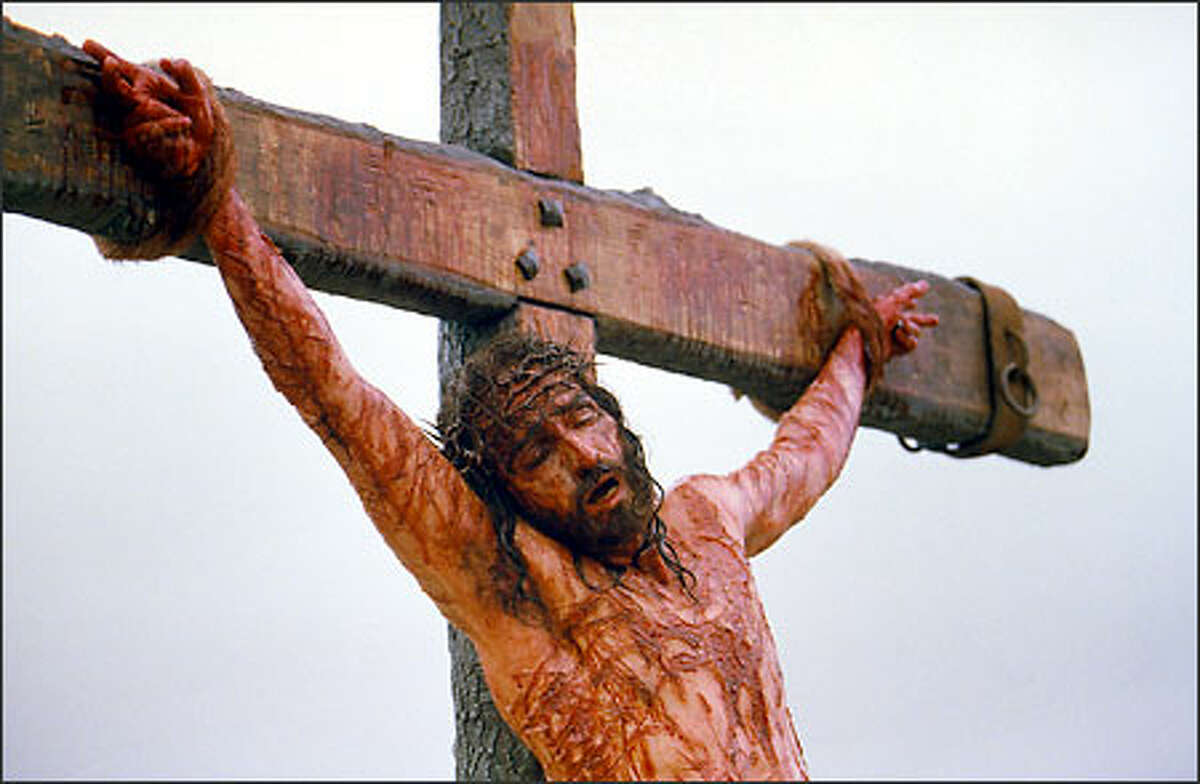 It took eight hours in the makeup chair each morning to simulate the wounds from the Crucifixion.