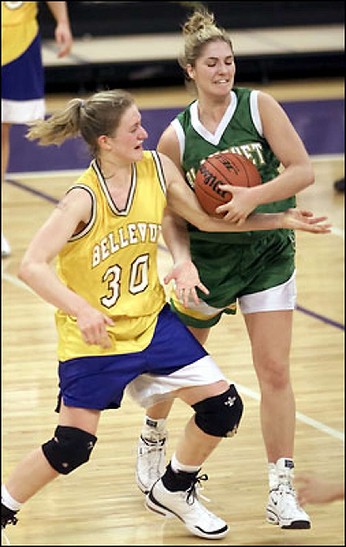 With 1.3 seconds left on the clock, Blanchet's Jen Segadelli rips the ball away from Bellevue's Katie Ludwick to draw the foul. Bellevue went on to win 46-40.