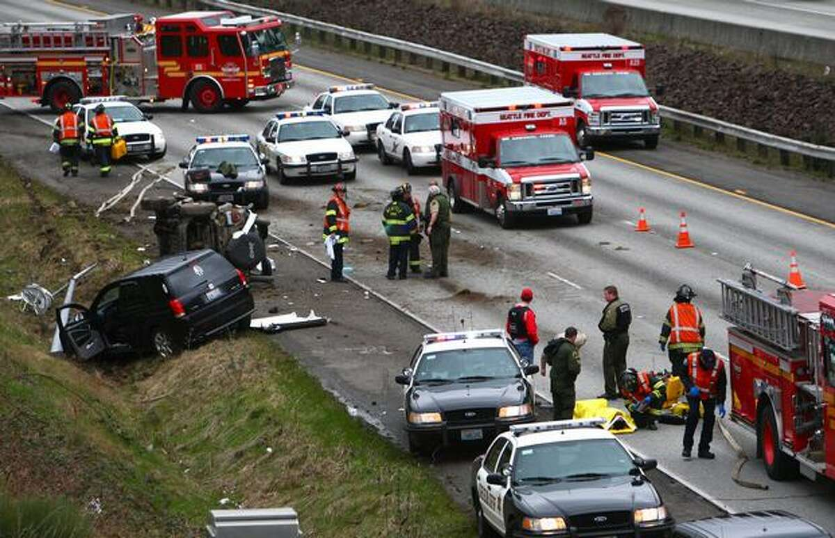 Interstate 5 is completely blocked after a high-speed chase ended with a crash on Interstate 5 at NE 70th Street on Wednesday.