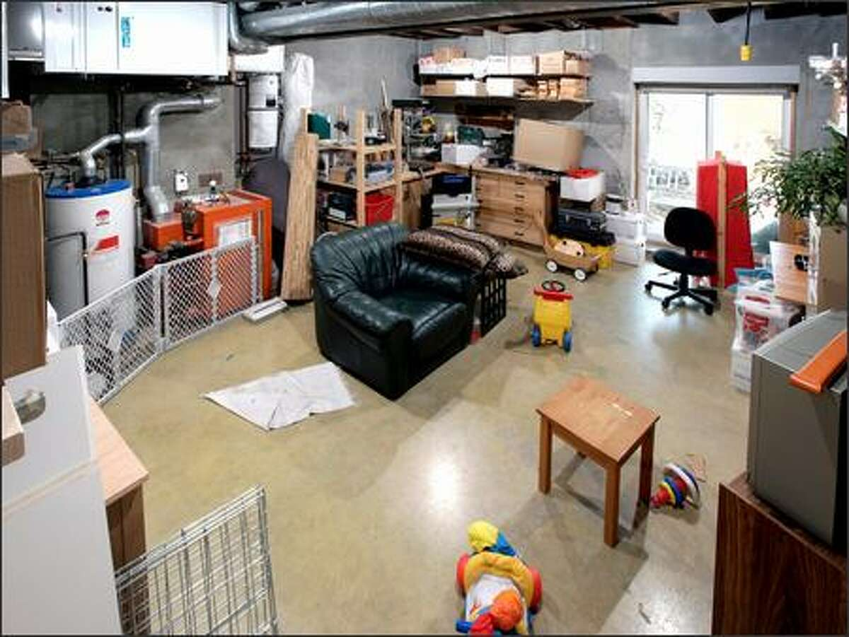 A dingy, cluttered basement ...