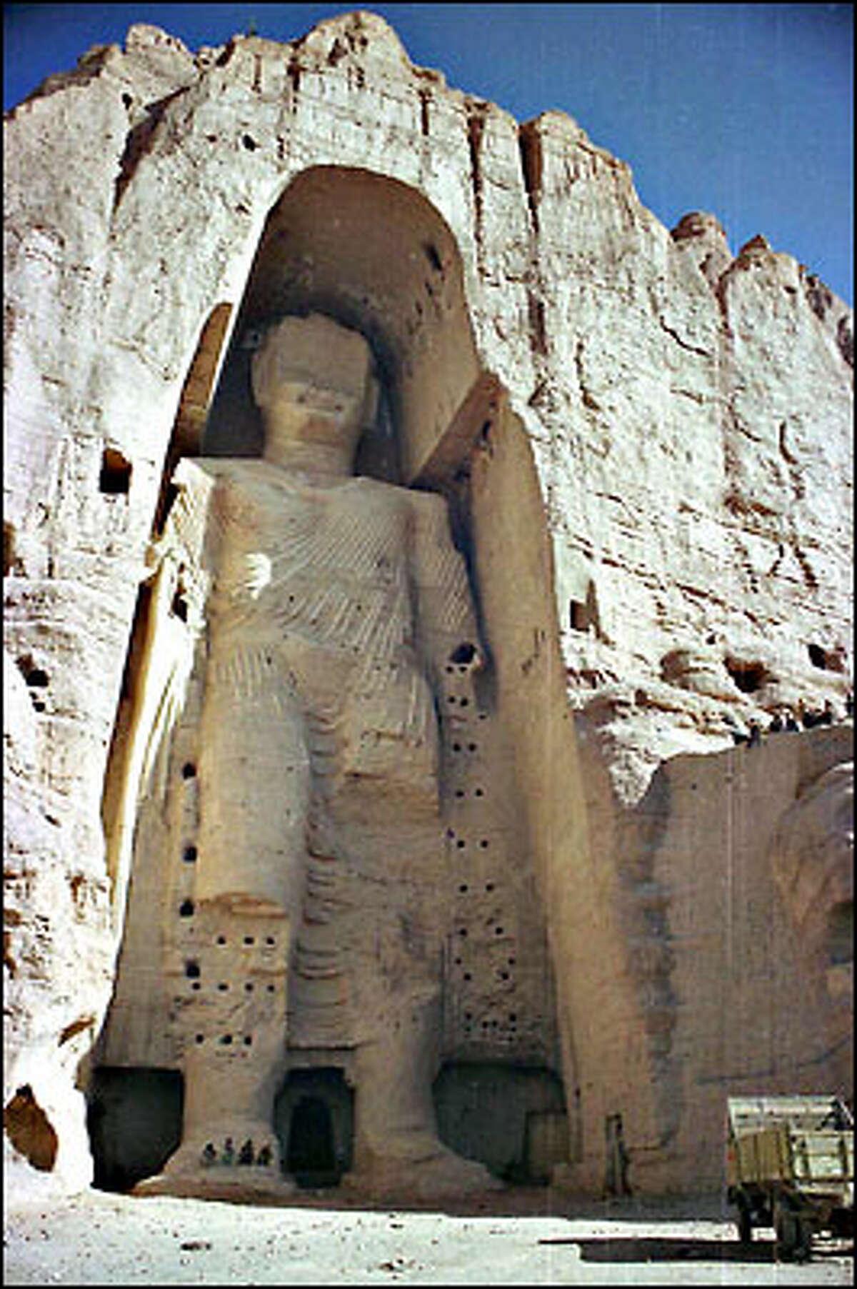 This 175-foot statue carved out of a mountainside 90 miles west of Afghanistan's capital of Kabul is said to be the tallest of Buddha standing.