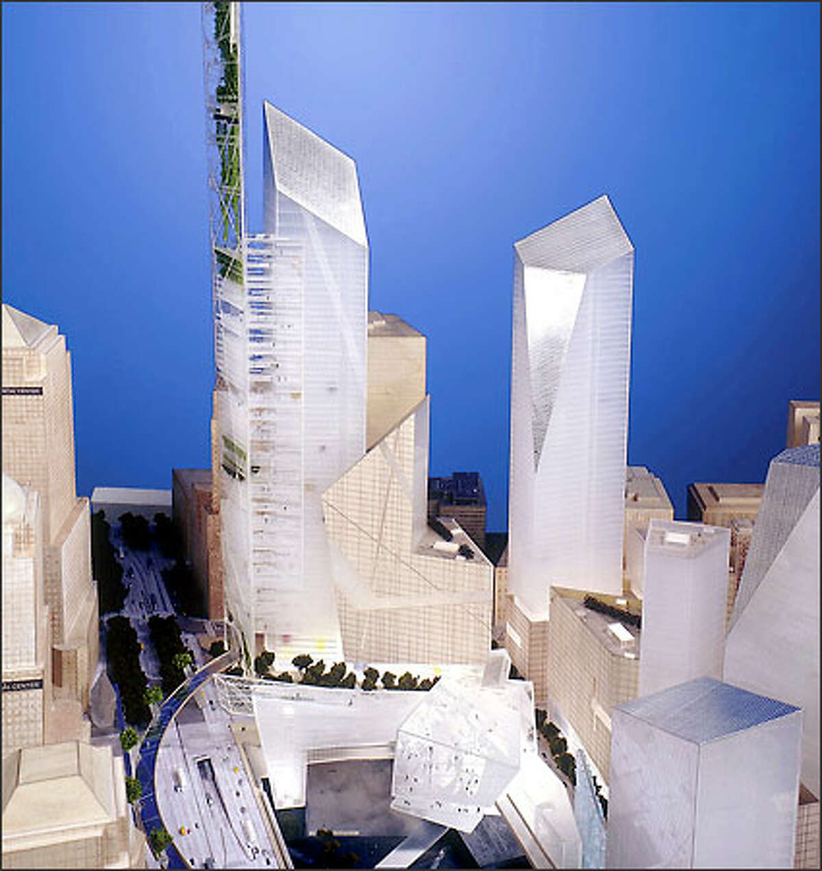 Architect Daniel Libeskind's design for the World Trade Center site in New York City calls for 70 stories of offices, with airy
