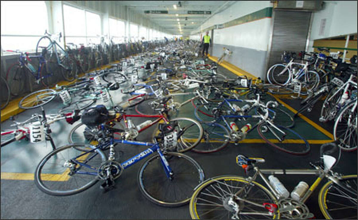 Bikes occupy the decks of the vehicle ferry from Seattle to Bainbridge Island for the 33rd staging of the Chilly Hilly recreational ride.