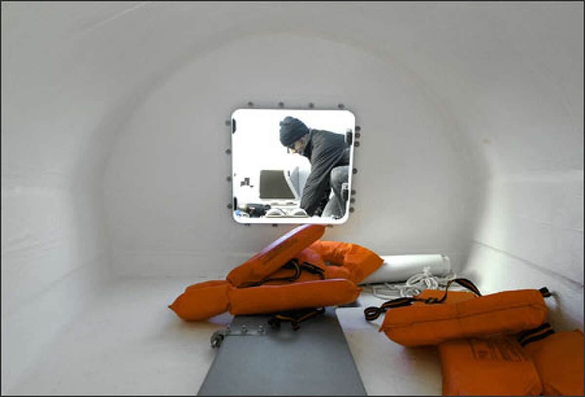 The small living area inside the 29-foot boat is where LeValley and his three crew members will rest during their journey.