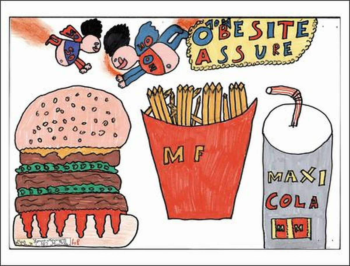 Thibault Mear's colorful drawing reflects what many French children picture when they think of America: fast food and fat people.