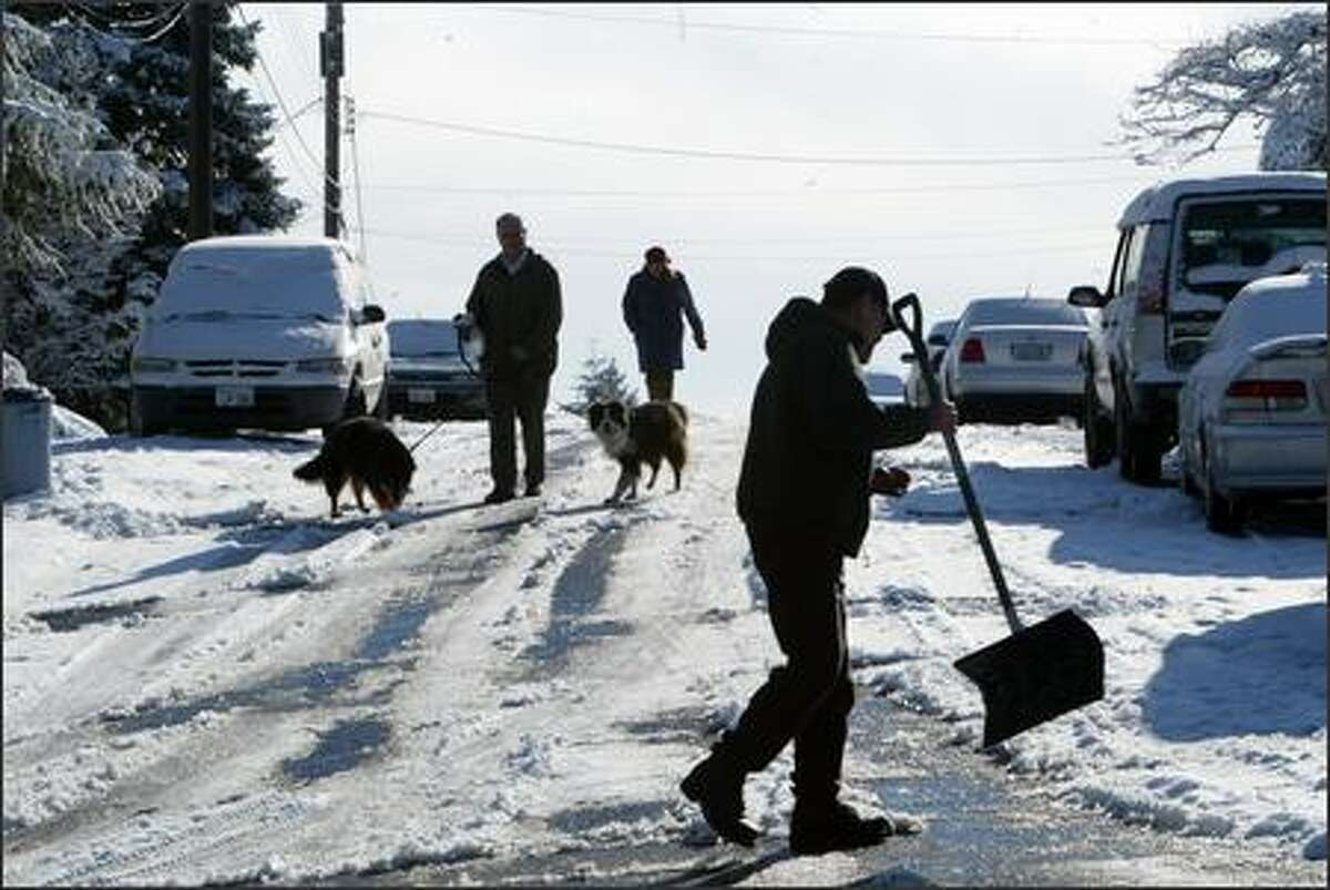 Pat and Warren Nagourney walk their dogs Callie and Ilse in Lake Forest Park Thursday morning as Phil Hoffman clears away the snow