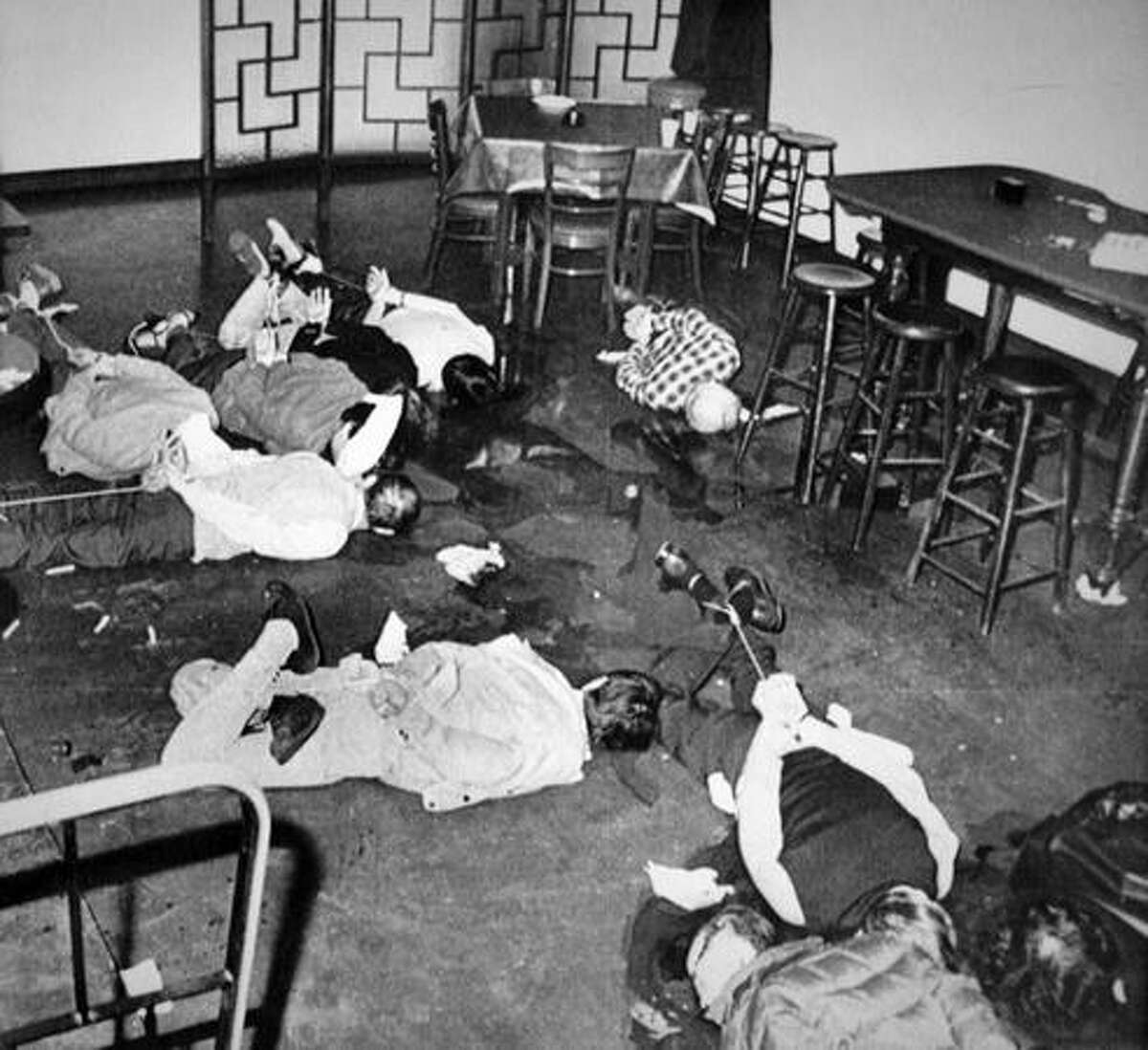 A police photo of the inside of the Wah Mee gambling club, where 12 men and one woman were killed during a robbery February 1983.