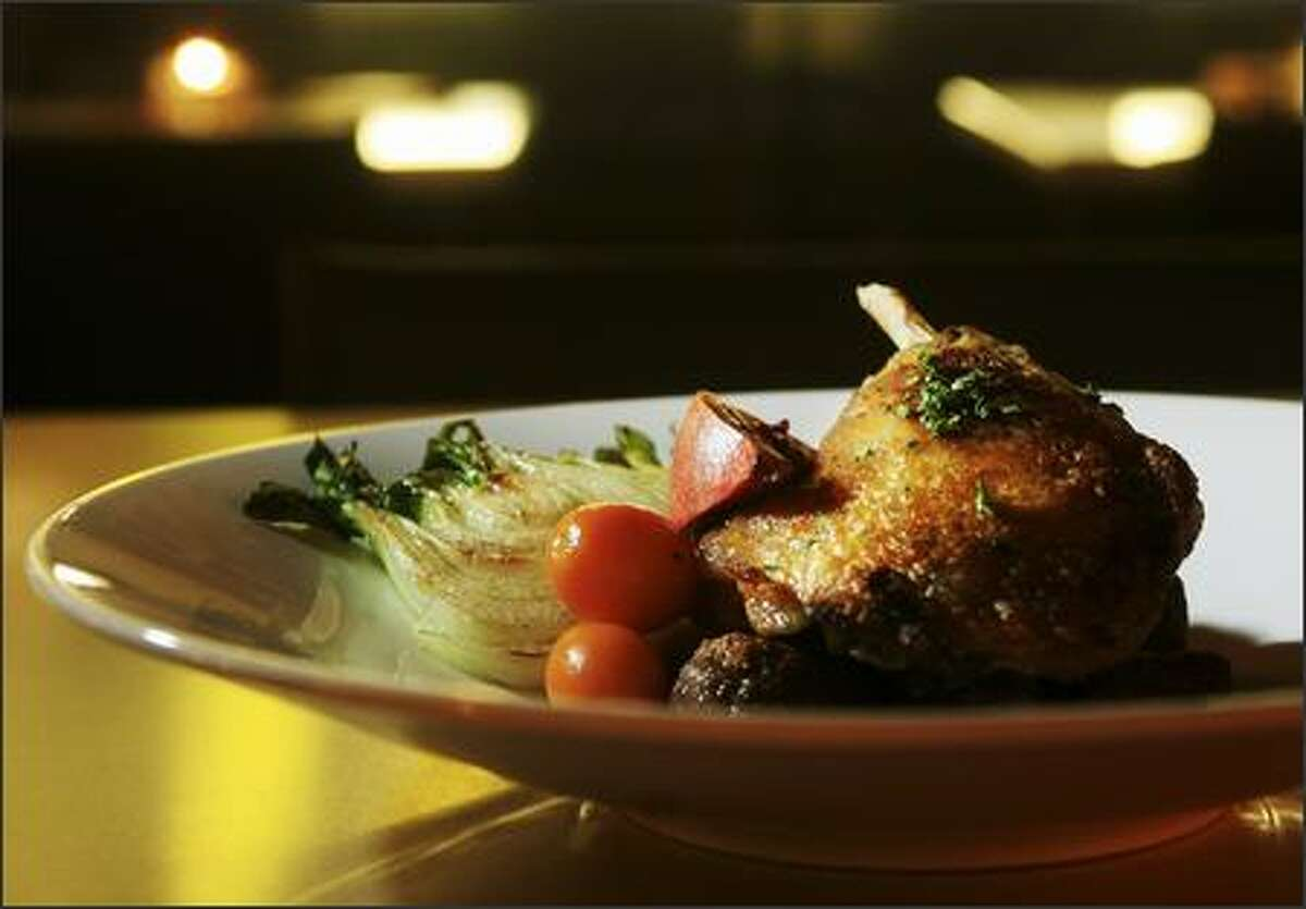 Duck leg confit with Silk Road spices is served with chestnut gnocchi.