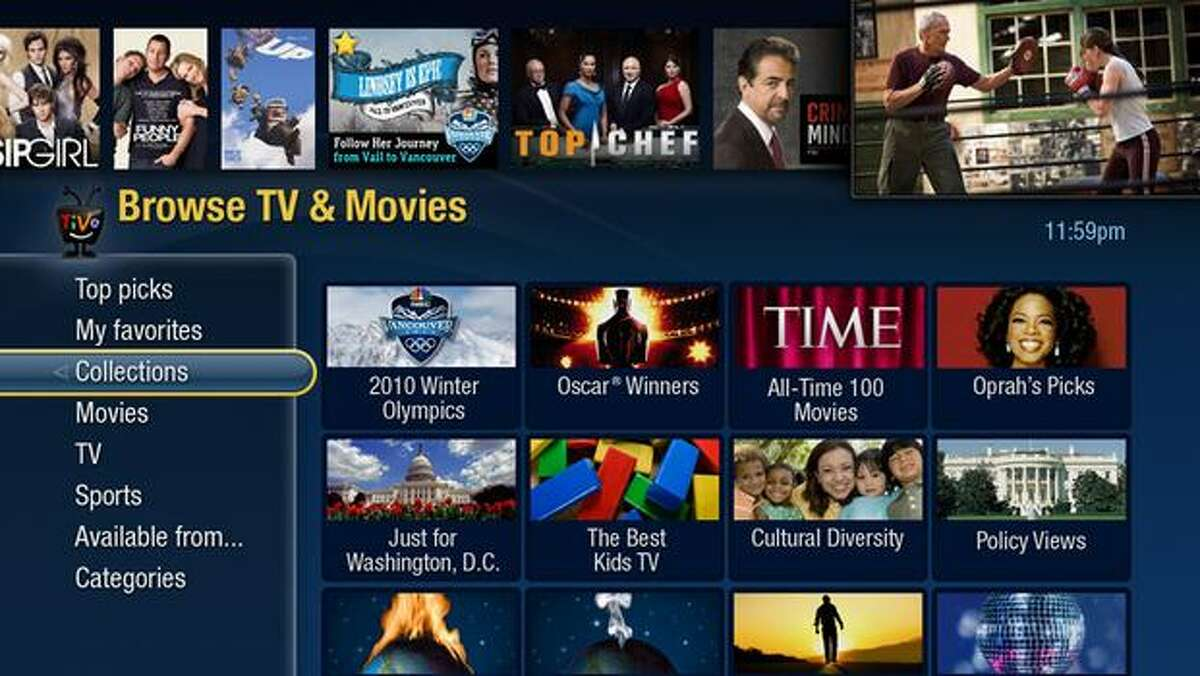 In this image released by TiVo Inc., Tuesday in New York, a TV screen shows how TiVo Premiere displays programming. TiVo Premiere combines access to cable programming, movies, web videos, and music all in one box.
