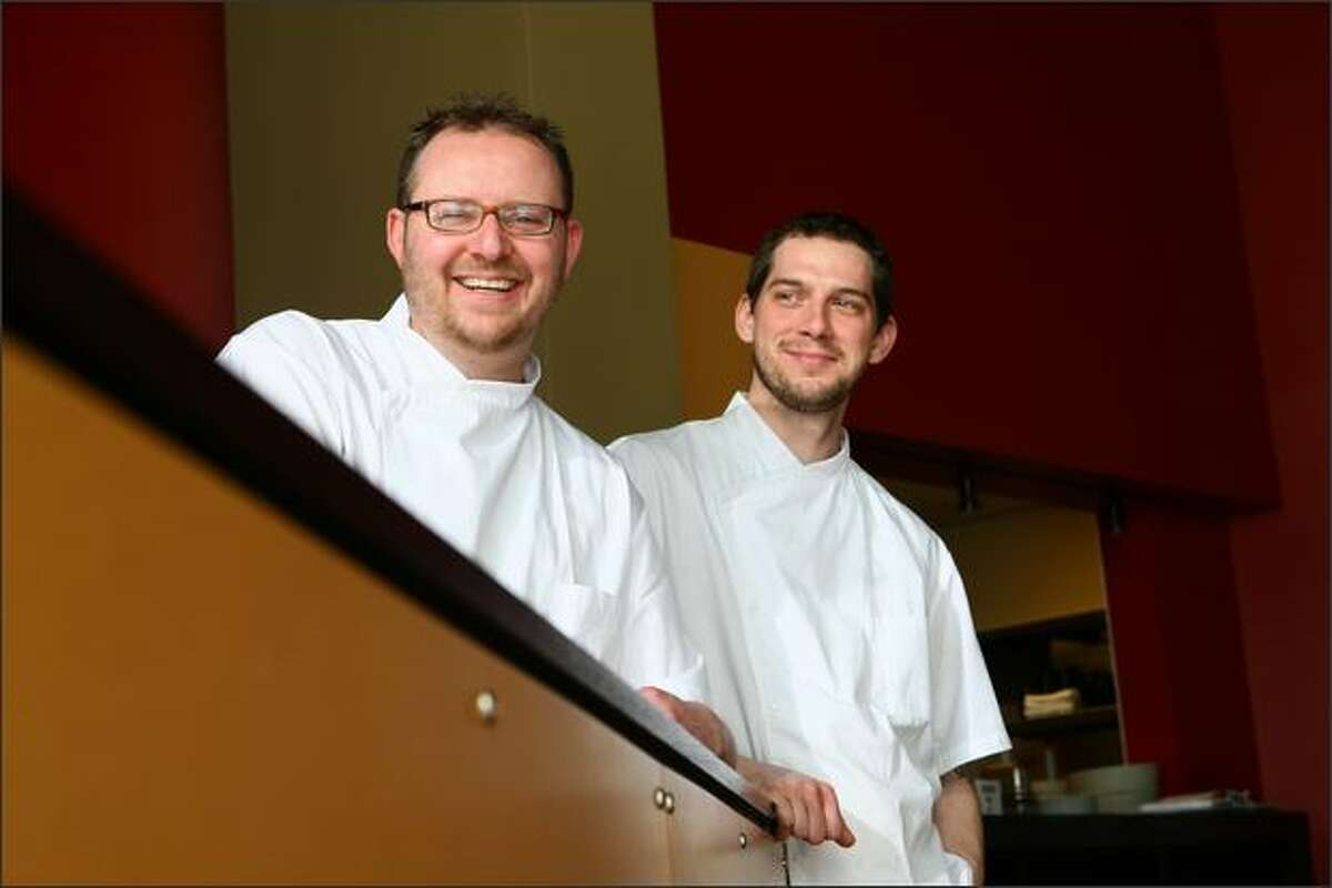 Ethan Stowell, left, with chef Tyler Moritz. Stowell, who opened Union in 2003, has opened two popular new restaurants in the past year.