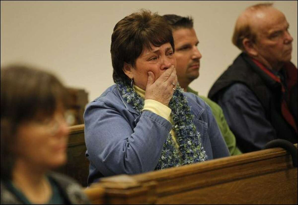 Beth Hanson-Aguilar, sister of Roald Hanson, reacts Friday during the sentencing of four people linked to his death. He was killed in June 2008. (Cliff Despeaux / Seattle Post-intelligencer)