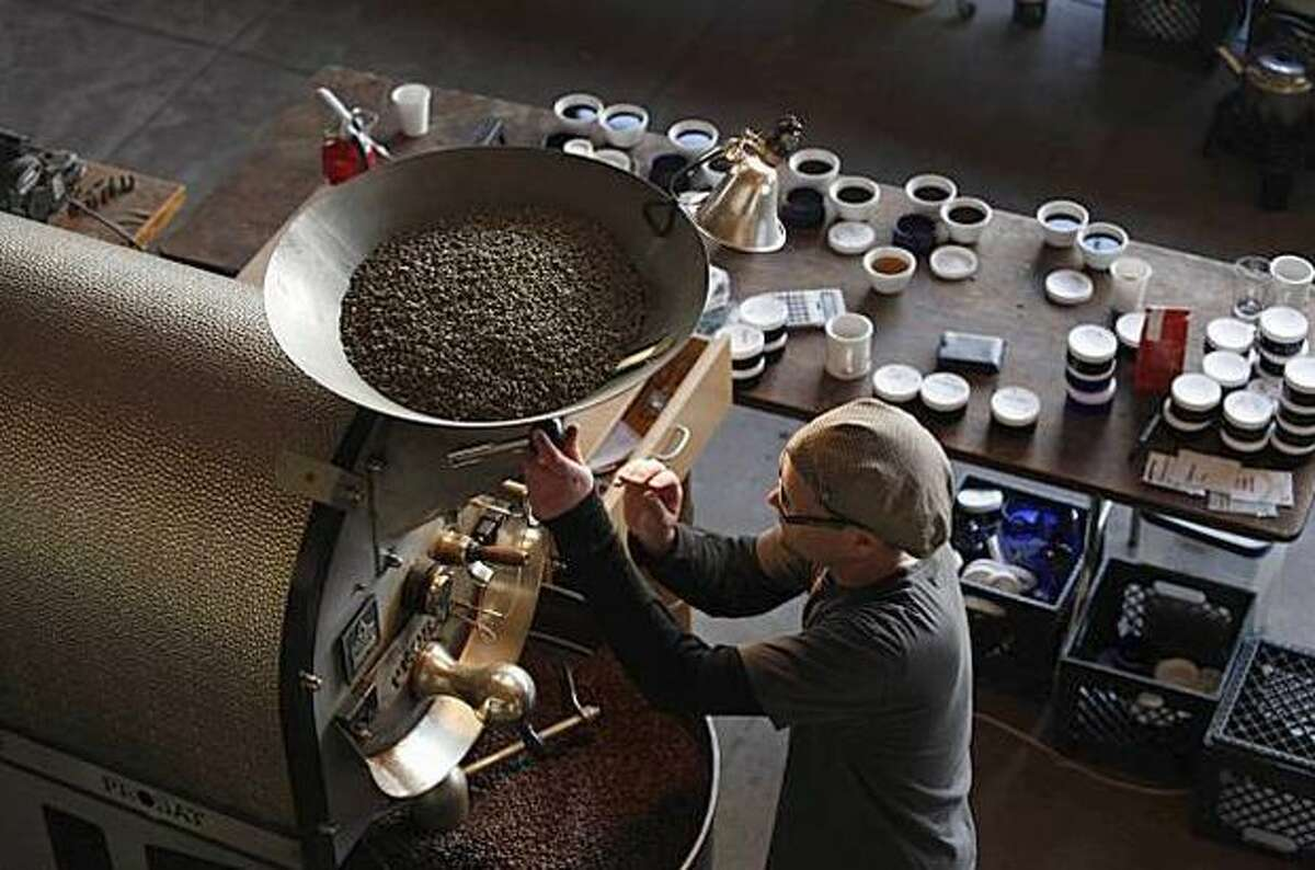 Joel Edwards works the roaster at Ritual Coffee Roasters, which uses GoCoffeeGo.