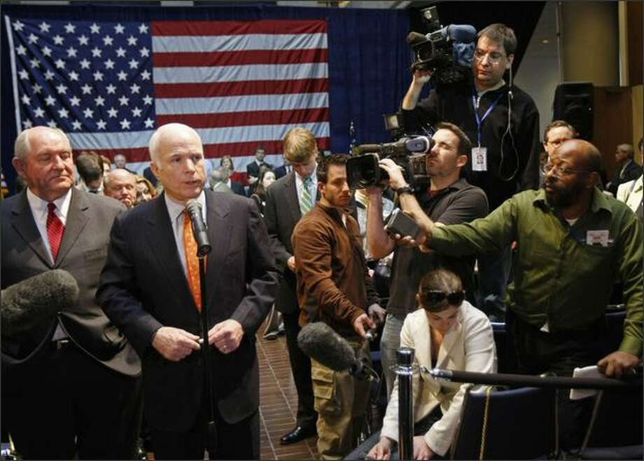 Republican presidential candidate, Sen. John McCain, R-Ariz., speaks with reporters during a campaign stop in Atlanta, Ga. Friday. McCain has emerged as the man Boeing supporters in Congress -- particularly Democrats -- blame for loss of a deal that would have supported 44,000 new and existing jobs at Chicago-based Boeing and suppliers in 40 states. (AP Photo/Gerald Herbert) Photo: Associated Press / Associated Press