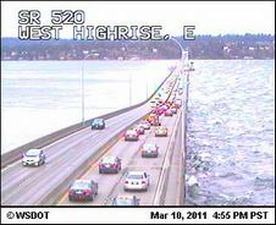 White caps on Lake Washington as seen from State Route 520 on Thursday, March 10, 2011. Forecasters have issued a high wind warning of 60 mph gusts for the Seattle area (photo by WSDOT).