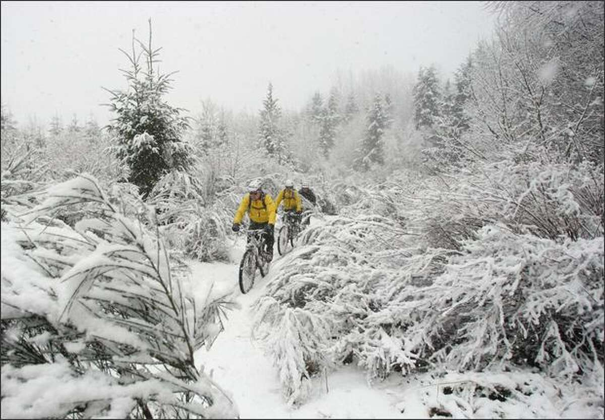 From left, Walt Purcell of Woodinville, Derek Carlson of Buckley, and John Nakatsu of Sammamish brave a snowstorm while riding near Black Diamond.