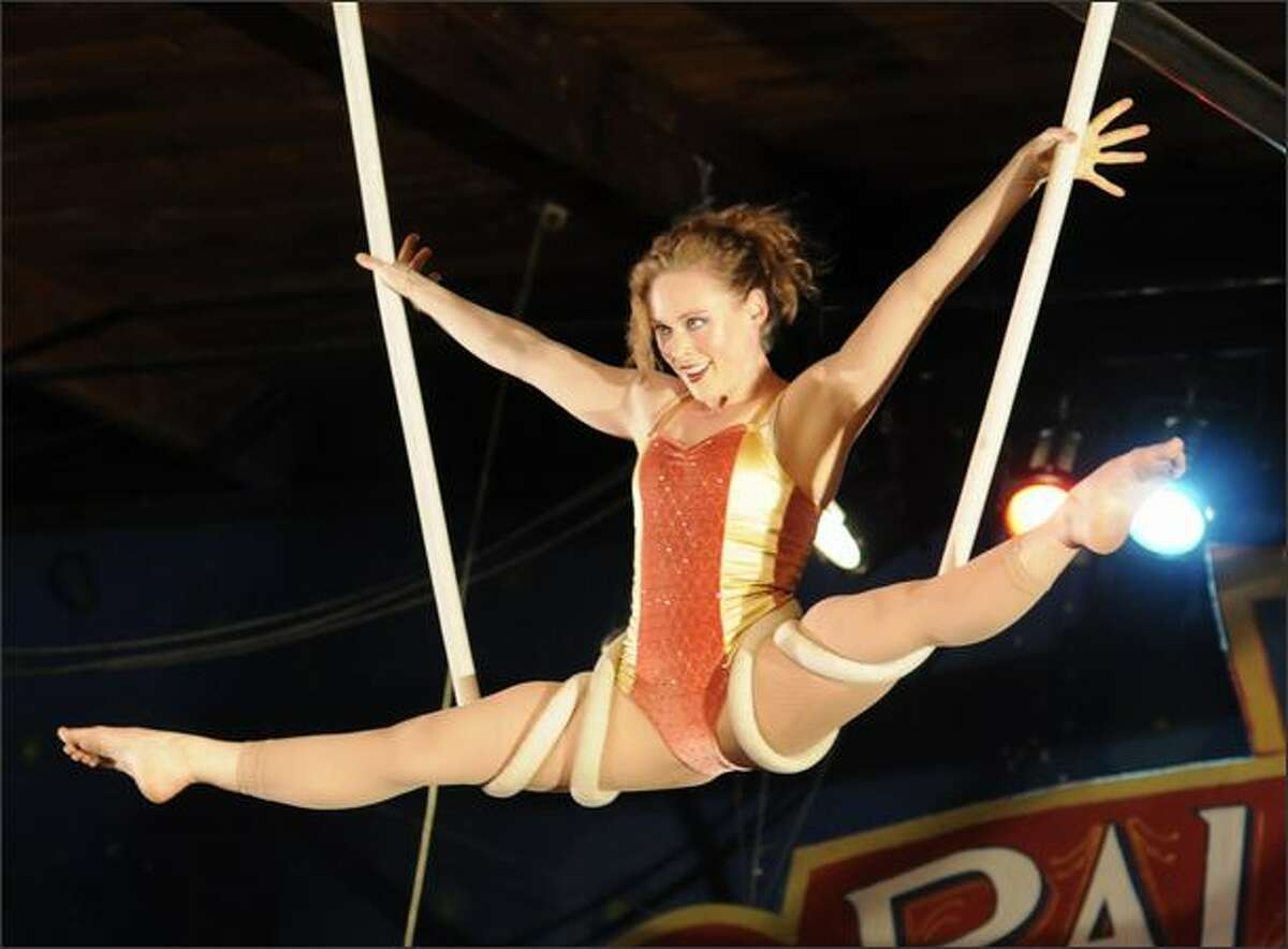 Sally Pepper is one of several aerialists performing at this year's Moisture Festival. Most of the performances are family-friendly, but there is a series of late-night burlesque shows for the 21-and-older crowd. The festival's producer said there is a live band at each performance.