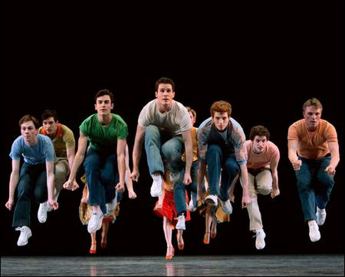 Pacific Northwest Ballet dancers, including soloist Seth Orza (center) as Riff, perform