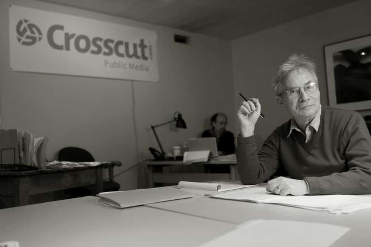 David Brewster of news site Crosscut.com in their offices.
