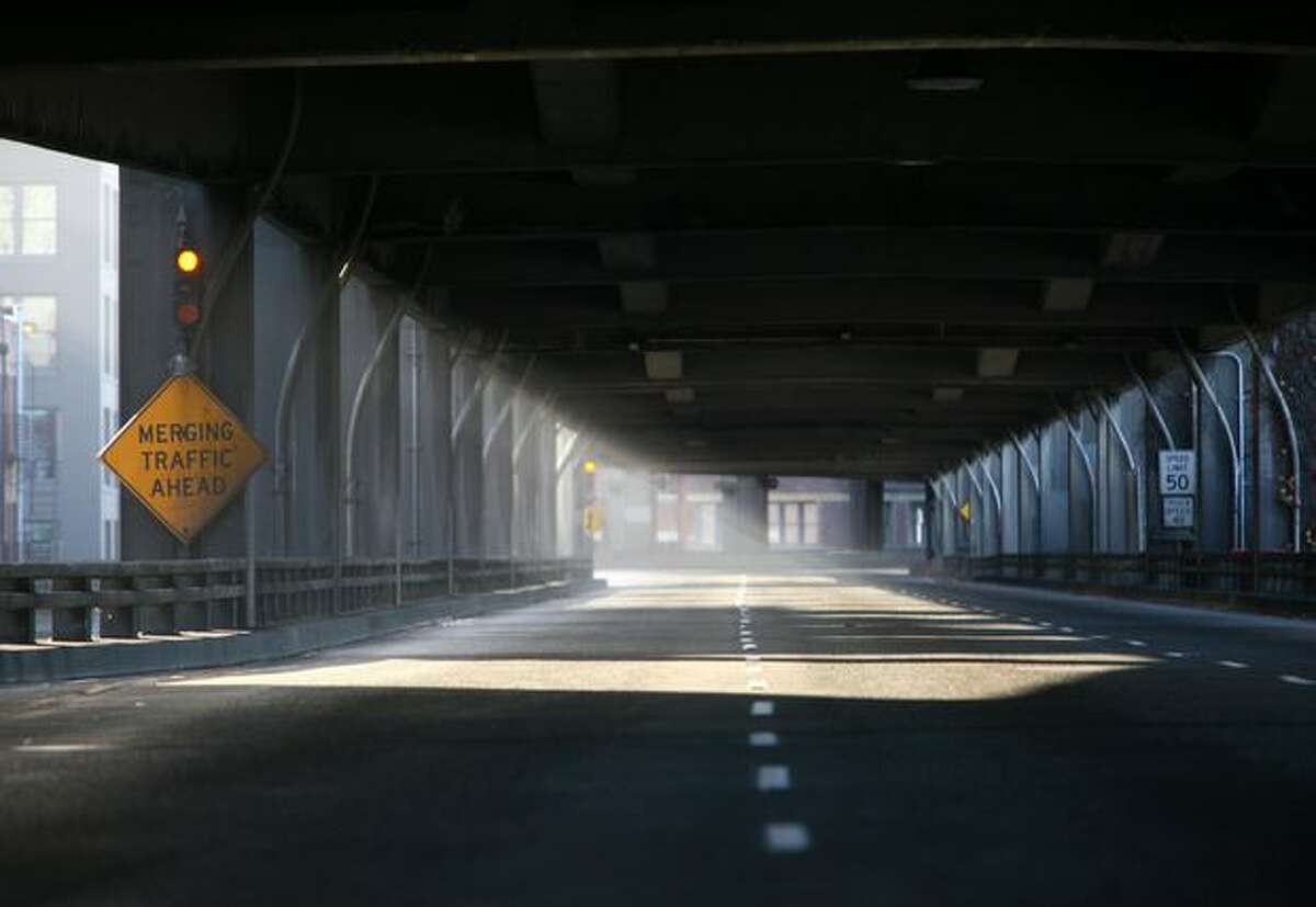 Seattle's waterfront Alaskan Way Viaduct is shown during a biannual inspection in this October 2009 file photo.