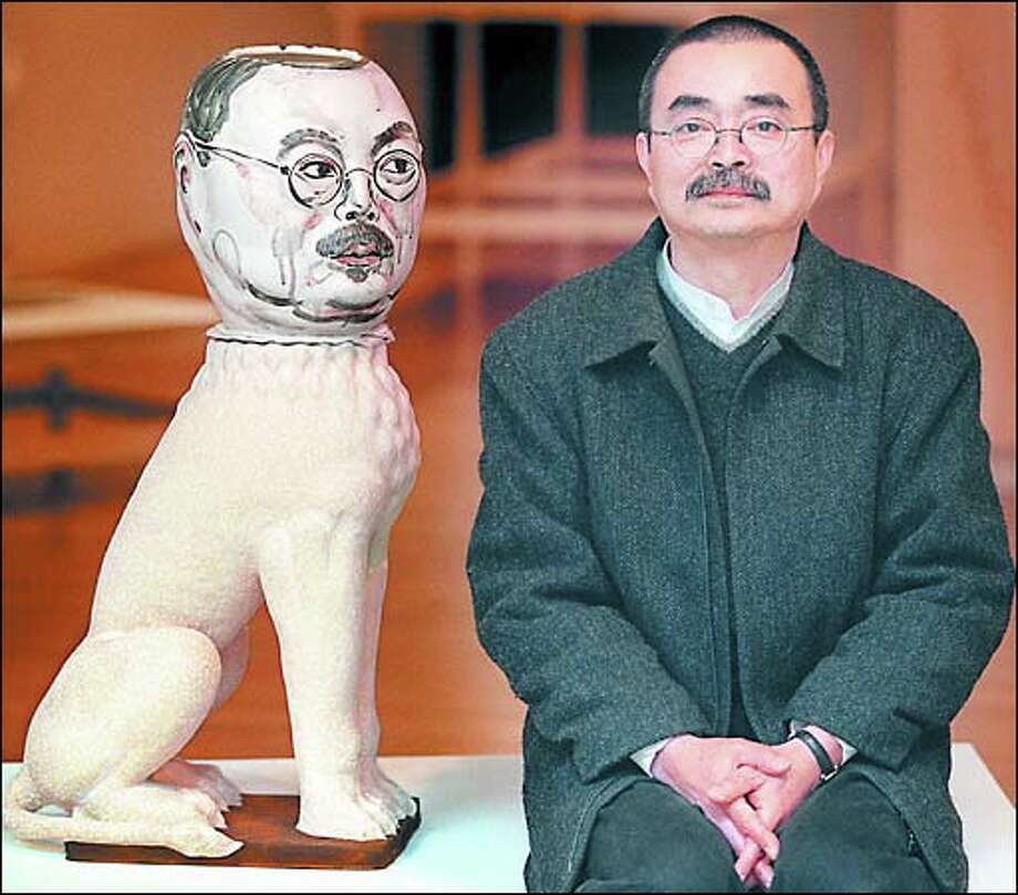 "Akio Takamori and one of his self portraits, ""Lion.""."