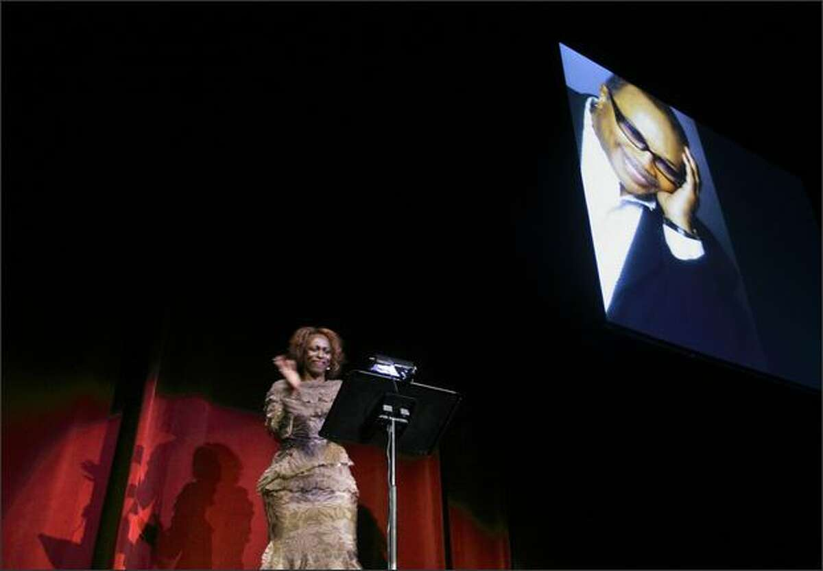 Vivian Phillips speaks to an audience gathered at the Paramount Theater for a presentation of a Lifetime Achievement Award to Quincy Jones in Seattle Sunday, March 16, 2008. The tribute included performances by the Garfield High School Jazz Ensemble, directed by Clarence Acox, James Ingram Band, Carlos Santana, Siedah Garrett and others.