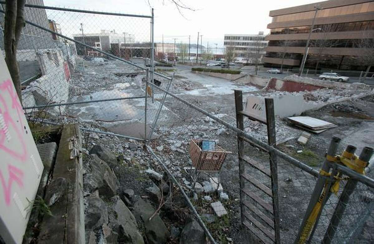 The former Mountaineers Building in Lower Queen Anne is shown on Friday, March 12, 2010. The building was demolished and has remained a stalled project.