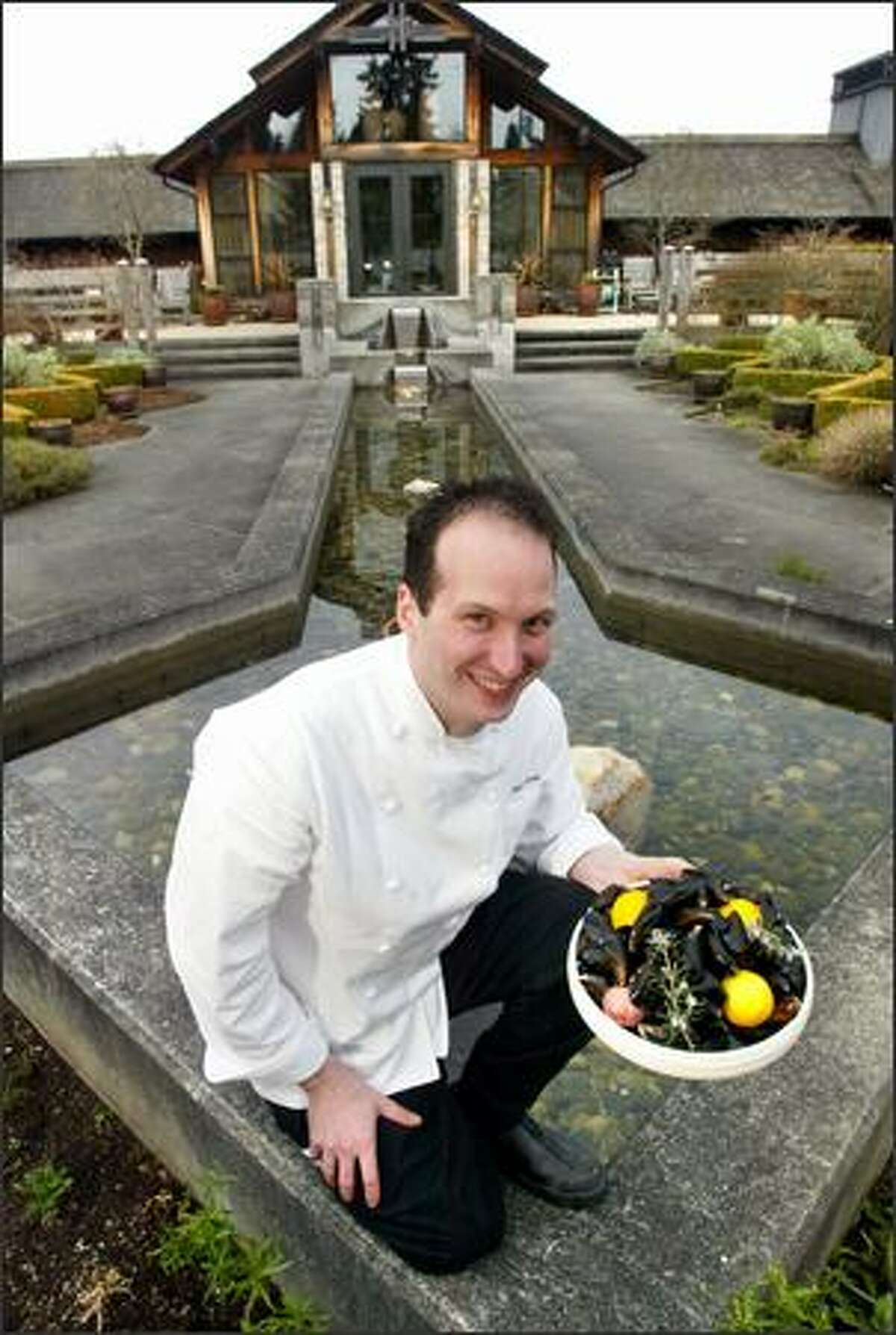 Chef and general manager at The Inn at Langley, Matt Costello emphasizes Whidbey Island agriculture in his menu, including locally harvested mussels.