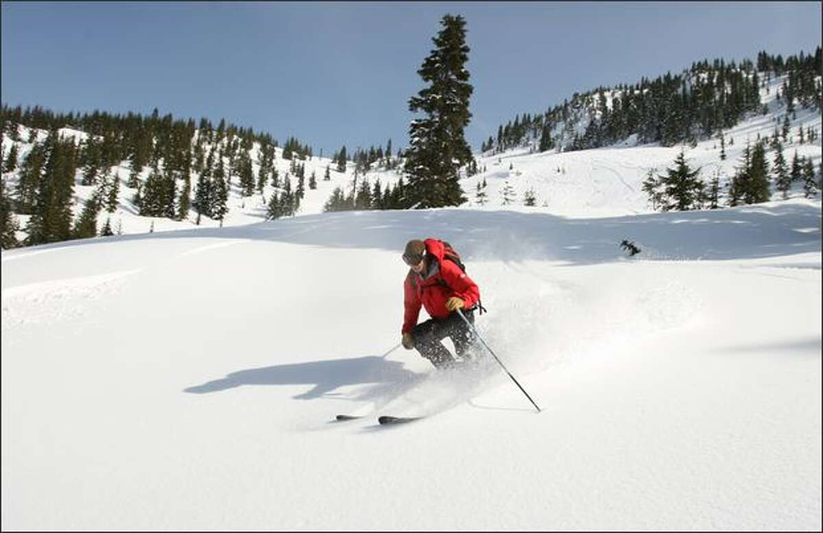 Chris Olson, a guide from Snohomish, skis untouched powder in the backcountry on a trip with Cascade Power Cats near Stevens Pass.