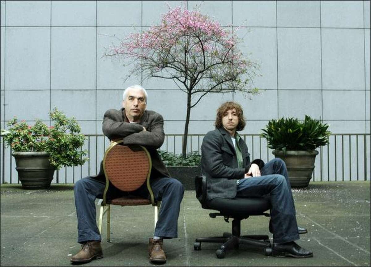 David Sheff, left, and his son, Nic Sheff, in downtown Seattle.