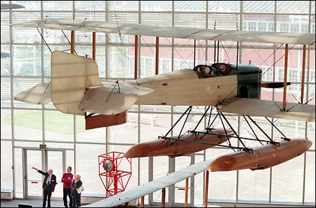 A replica of The Boeing Co.'s first airplane, the 1915-1916 B&W, is the first thing to greet visitors to the Museum of Flight.