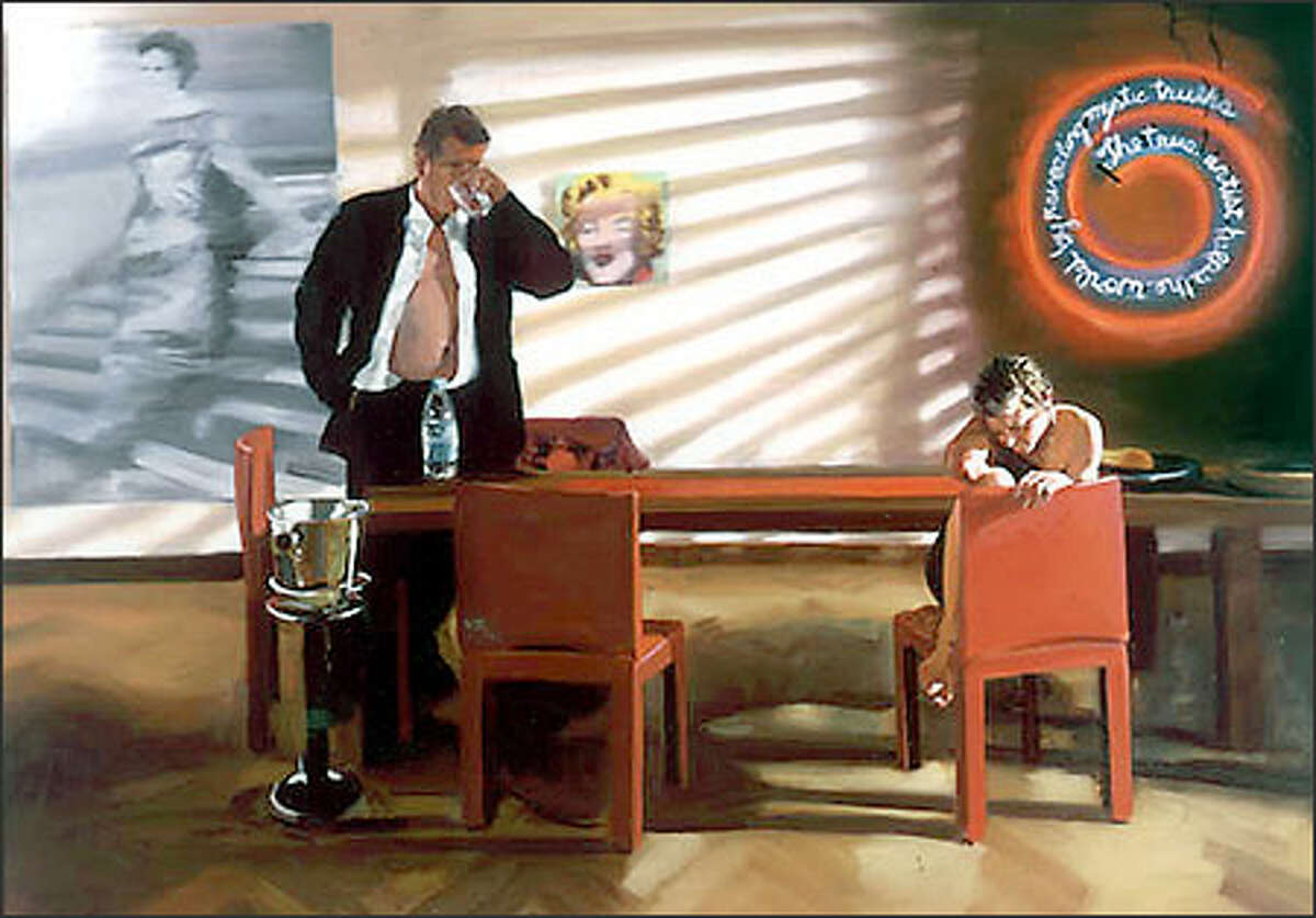 """""""Living Room, Scene 2,"""" oil on linen, by Eric Fischl, 2003. (Courtesy of Mary Boone Gallery)"""