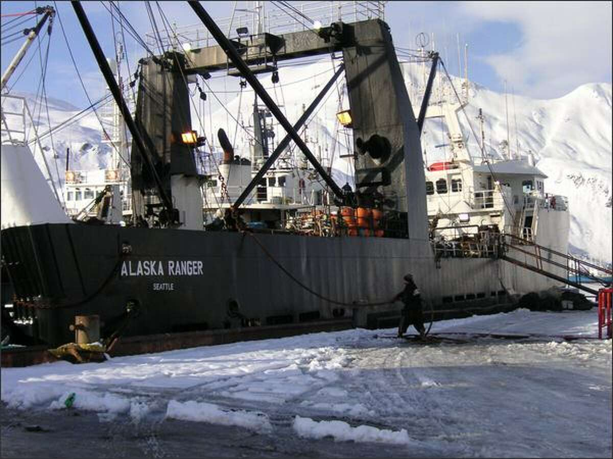 The Alaska Ranger is seen at a port in Dutch Harbor in this Jan. 2006 file photo. (AP Photo/Jim Paulin)